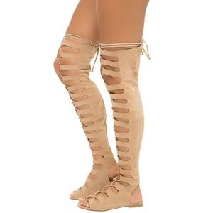 Lace-Up Over The Knee Gladiator Flat Sandal Boot